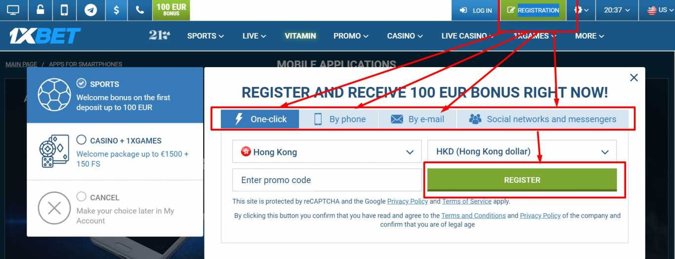 How to Register on 1xBet